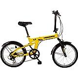 HUMMER(ハマー) 折りたたみ自転車 20インチ MG-HM206 6段ギア付き FDB20 レモンイエロー