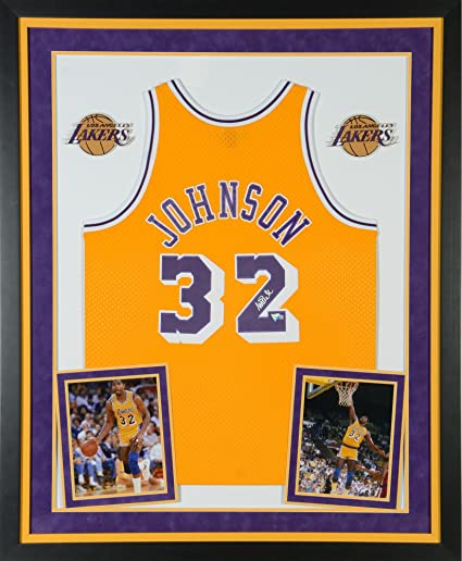 4b3a120a334 Magic Johnson Los Angeles Lakers Deluxe Framed Autographed Gold Mitchell &  Ness Hardwood Classics Swingman Jersey