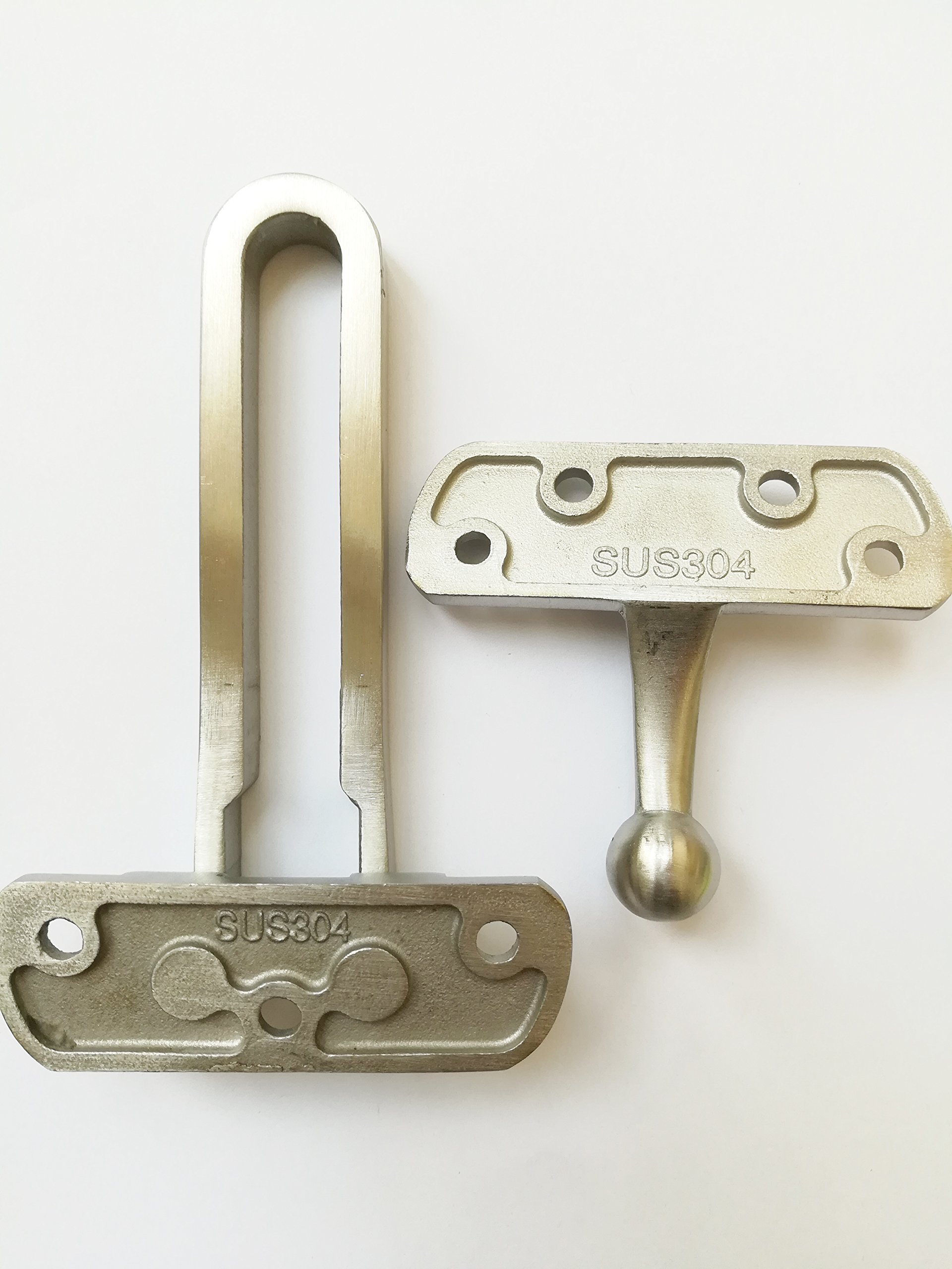 TOGU Solid Die-casted Sus 304 Stainless Steel Thicken Security Door Guard,Gate Latches Swing Bar Door Guard,Burglar-Proof Padlock Door Clasp For Home,Apartment,Hotel,Motel,Dormitory,Satin Nickel