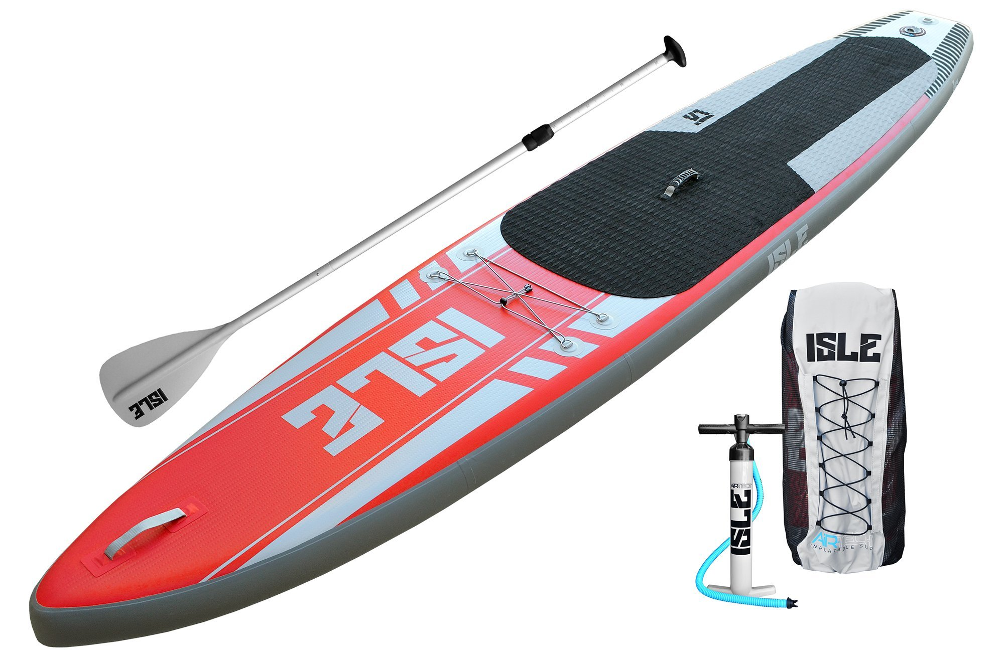 ISLE 12'6 Airtech Inflatable Touring Stand Up Paddle Board (6'' Thick) Package | Includes Adjustable Travel Paddle, Carrying Bag, Pump