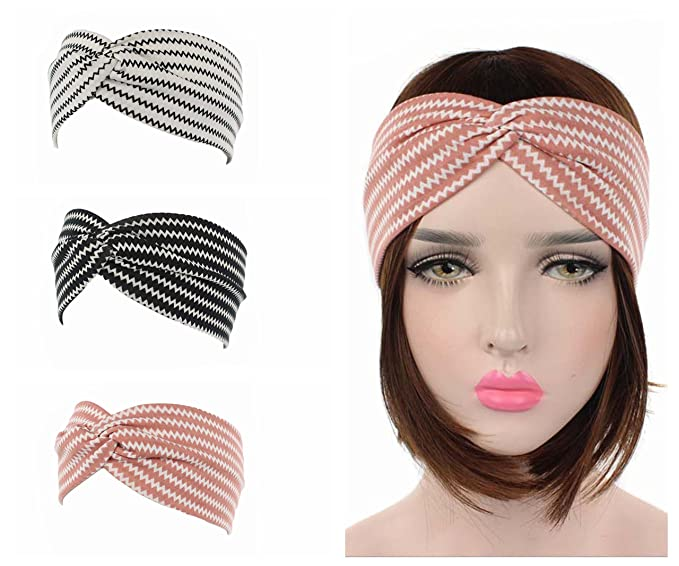ZHW Women Headbands Vintage Elastic Printed Head Wrap Stretchy Moisture  Hairband (3 Pack) 65ab76c8858a