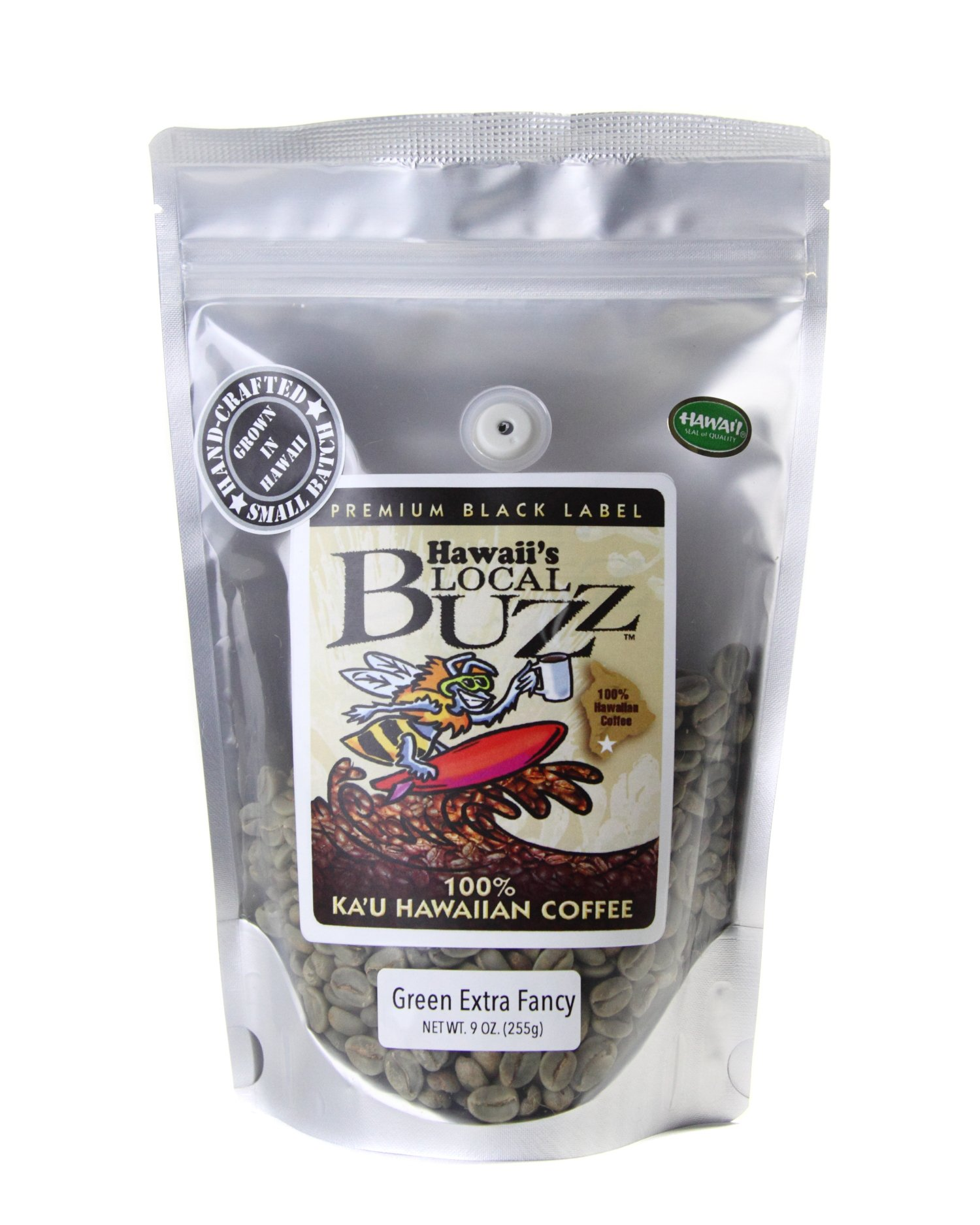 Hawaii's Local Buzz Premium Black Label Extra Fancy, Green (Unroasted) Beans, 9 Ounce
