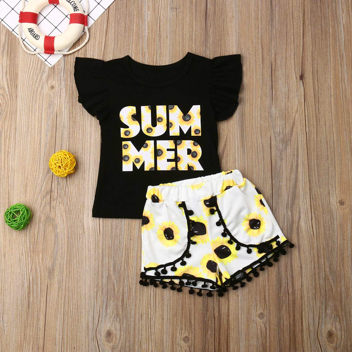 2Pcs//Set Toddler Kids Baby Girl Summer Short Sleeve T-Shirt Tops Floral Short Sets Outfits Clothes