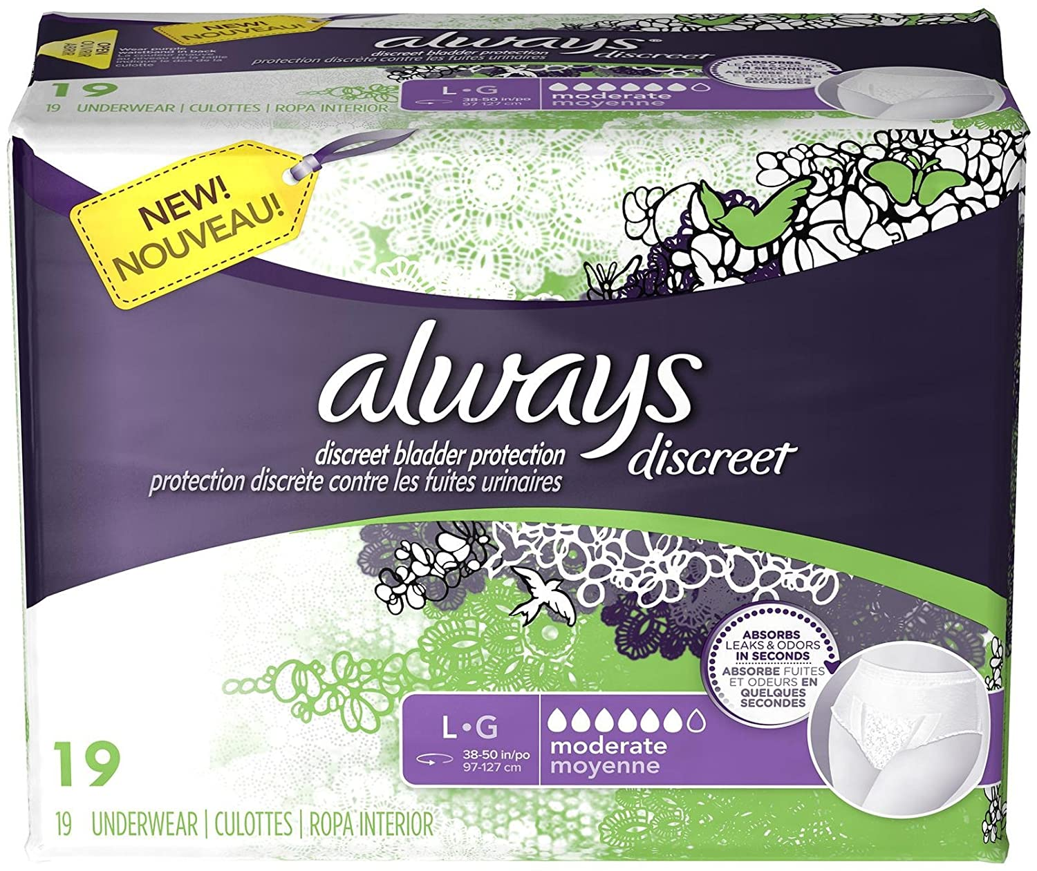 Amazon.com: Always Discreet Incontinence Underwear, Moderate Absorbency for Women, Large (19 ct): Health & Personal Care