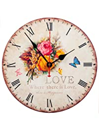 Wall Clock Decorative KI Store Silent Wall Clock Non Ticking Vintage  Country Style Wall Clocks 12