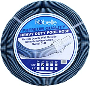 Robelle 530 Premium Quality Heavy Duty Pool Hose, 27' x 1-1/4""