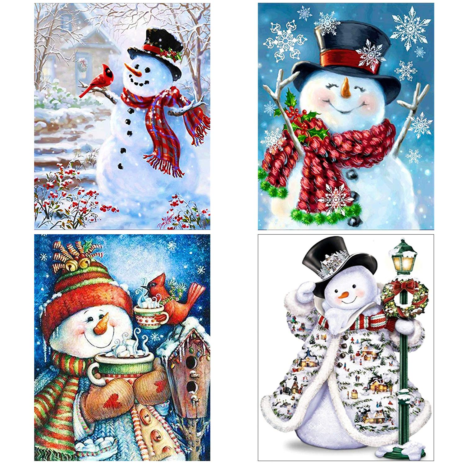 Aneco 4 Pack 5D DIY Diamond Painting Kits Snowman Full Drill Rhinestone Embroidery Cross Stitch Painting for Christmas Home Decor