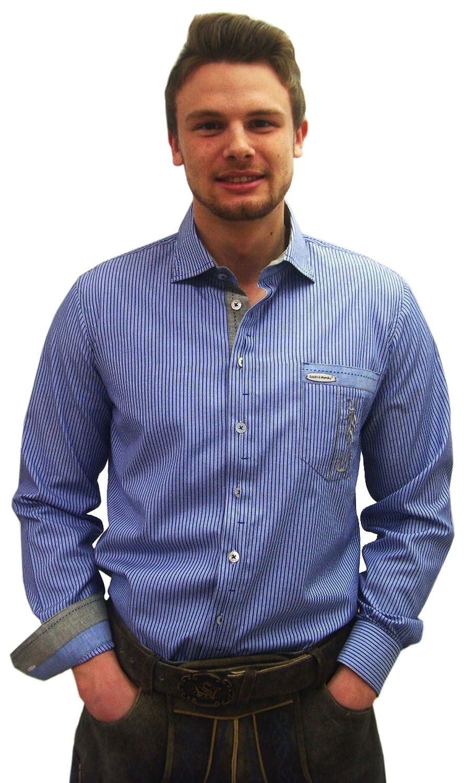 Herren Trachtenhemd blau gestreift Herrenhemd Erich Slim Line Langarm blau