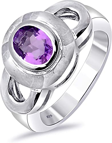 Personalized With Up To 40 Characters Organic Gemstone Ring * Sterling Silver Sky Blue Topaz and Purple Amethyst Ring for Women