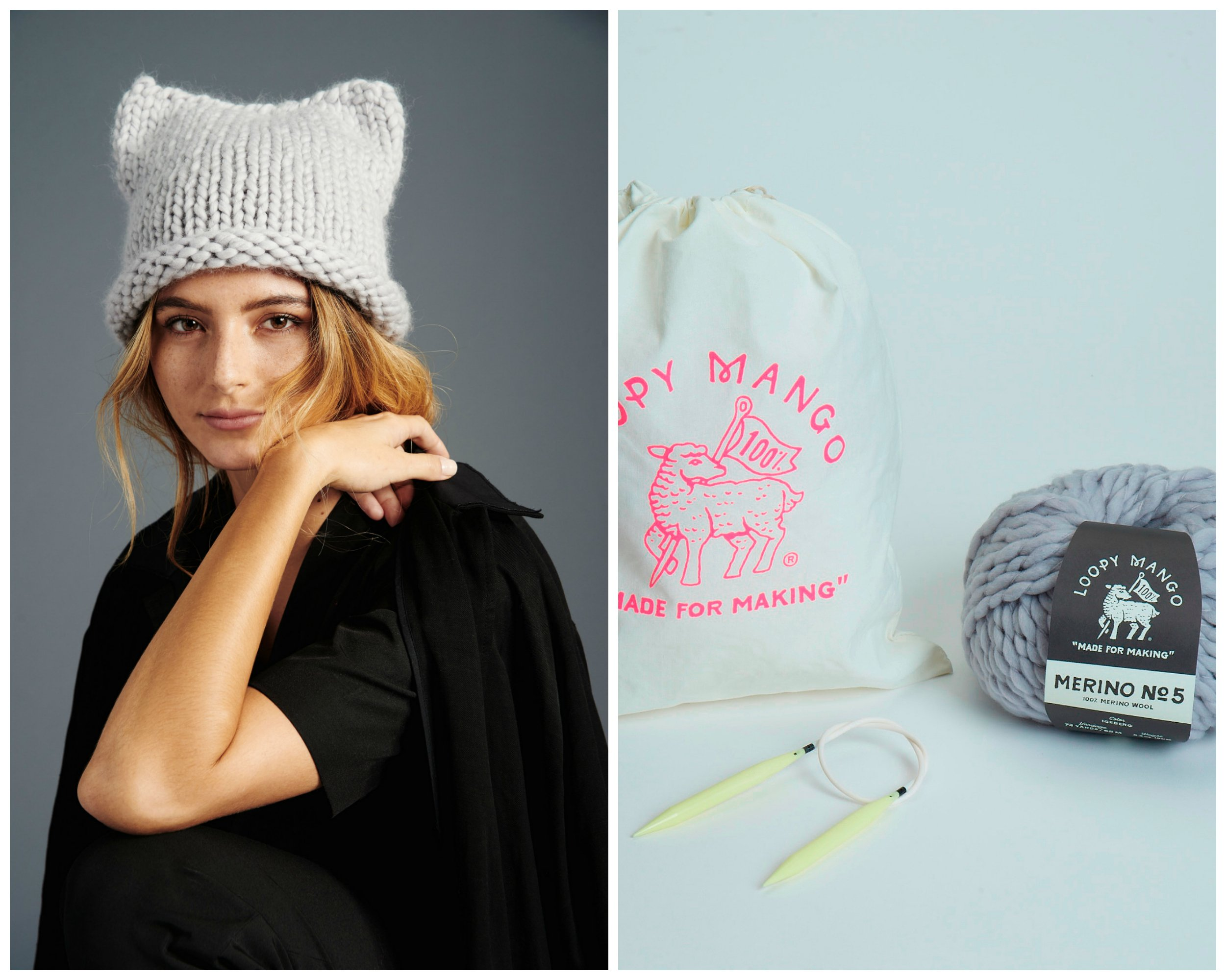 Loopy Mango DIY Kit - Kitty Hat (Spicy Hot Pink)