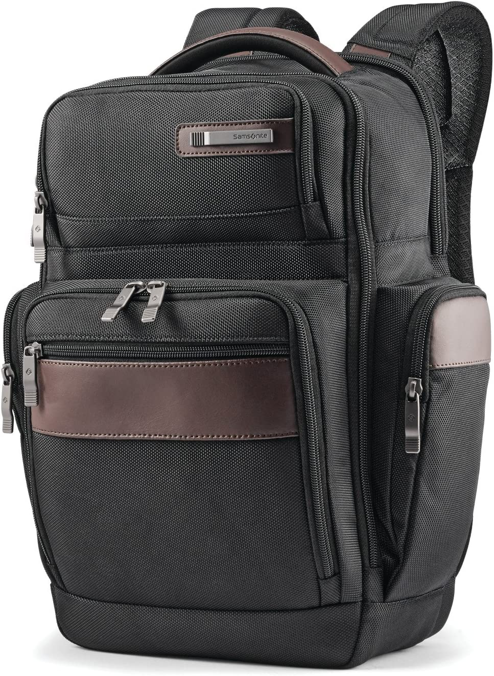 Samsonite Kombi 4 Square Backpack with Smart Sleeve, Black/Brown, 15.75 x 9 x 5.5-Inch
