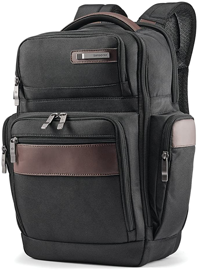 Samsonite Kombi 4 Square Backpack with Smart Sleeve, Black/Brown, 15.75 x 9 x 5.5-Inch   Amazon