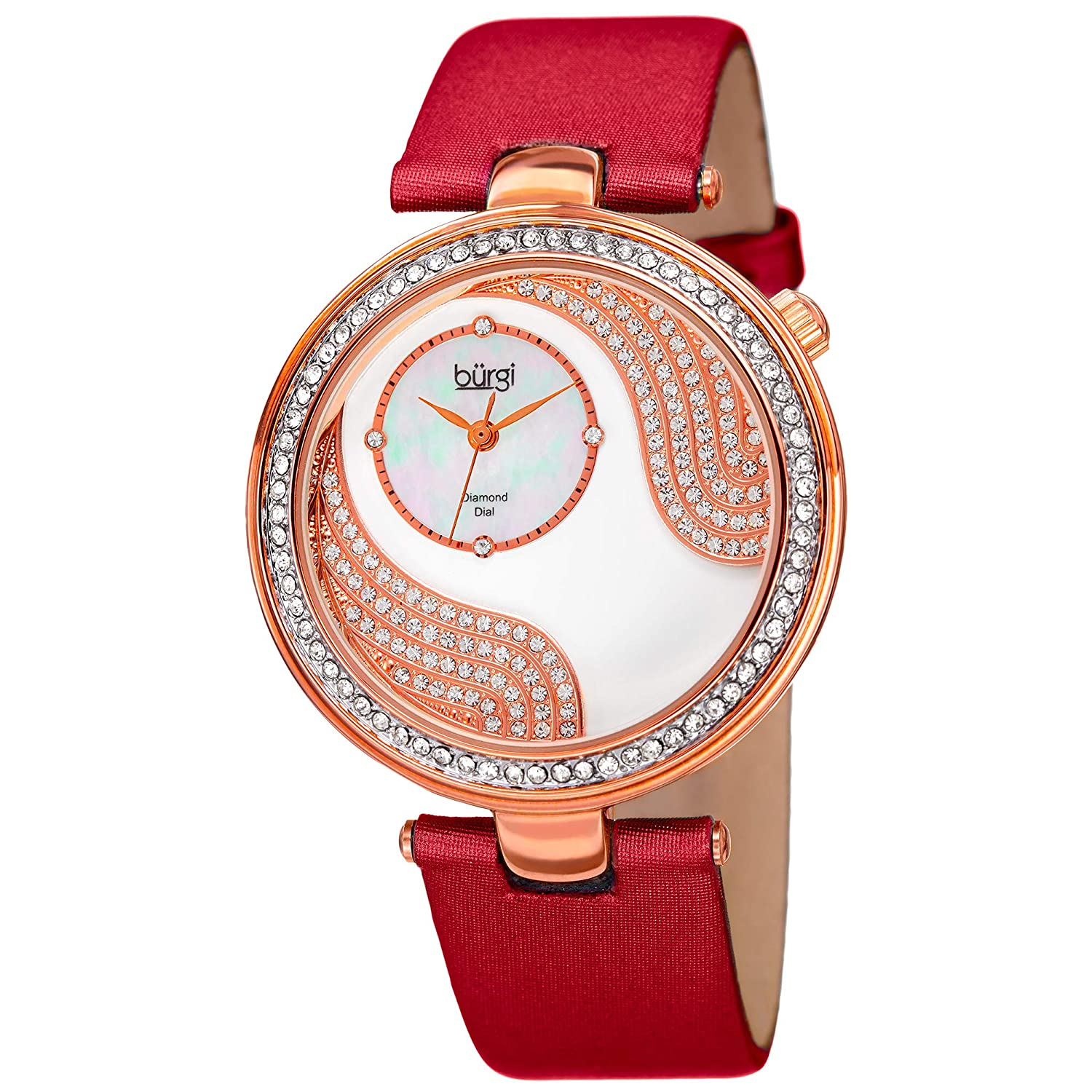 Burgi Unique Crystal Pave Design Women s Watch – Mother-of-Pearl and Sparkling Crystal Dial and Case on Genuine Leather Strap – BUR155