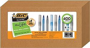 Bic Pens Large Bulk Pack of 400 Ink Pens, Bic Round Stic Xtra Life Ballpoint Pens Medium Point 1.0 Mm, 200 Black Pens & 200 Blue Pens In Box Combo Pack