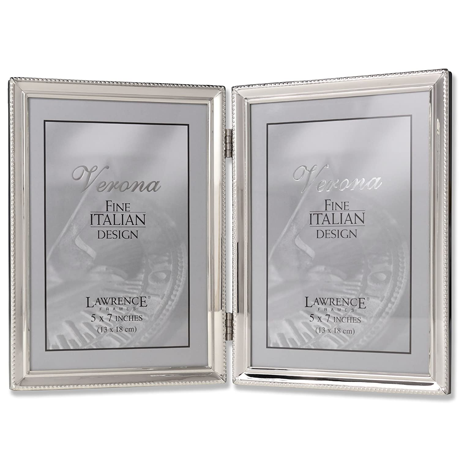 Amazon lawrence frames polished silver plate 5x7 hinged amazon lawrence frames polished silver plate 5x7 hinged double picture frame bead border design single frames jeuxipadfo Image collections