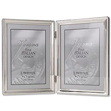 lawrence frames polished silver plate 5x7 hinged double picture frame bead border design - Double 5x7 Picture Frame