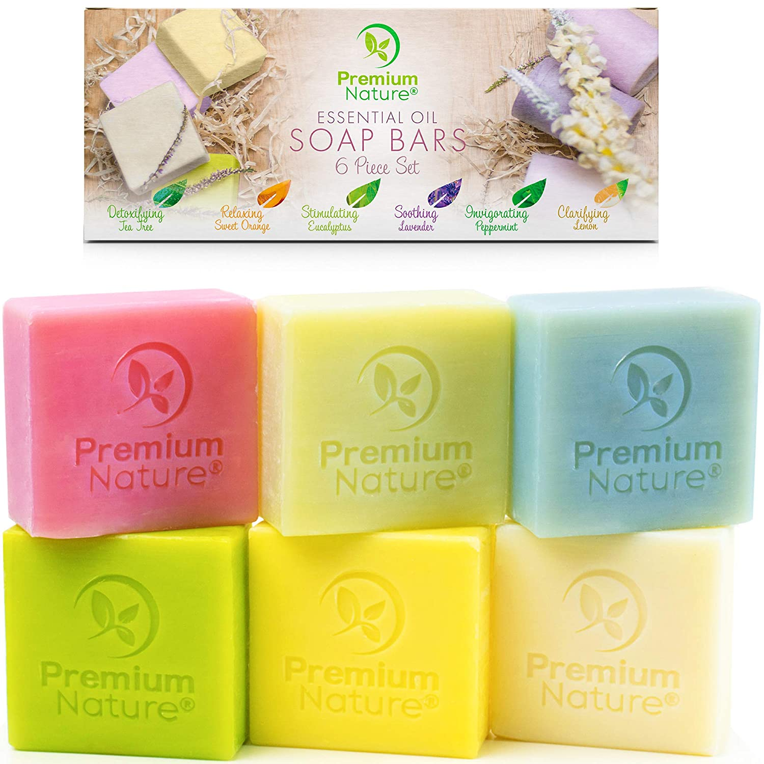 Bar Soap Body Bath Eczema - 6 Pc Natural Hand Face Soap Shea Butter, Soap Variety Gift Box Set Vegan Bath Soap with Essential Oil Sensitive Skin Moisturizer for Women Men Sisal Saver Included