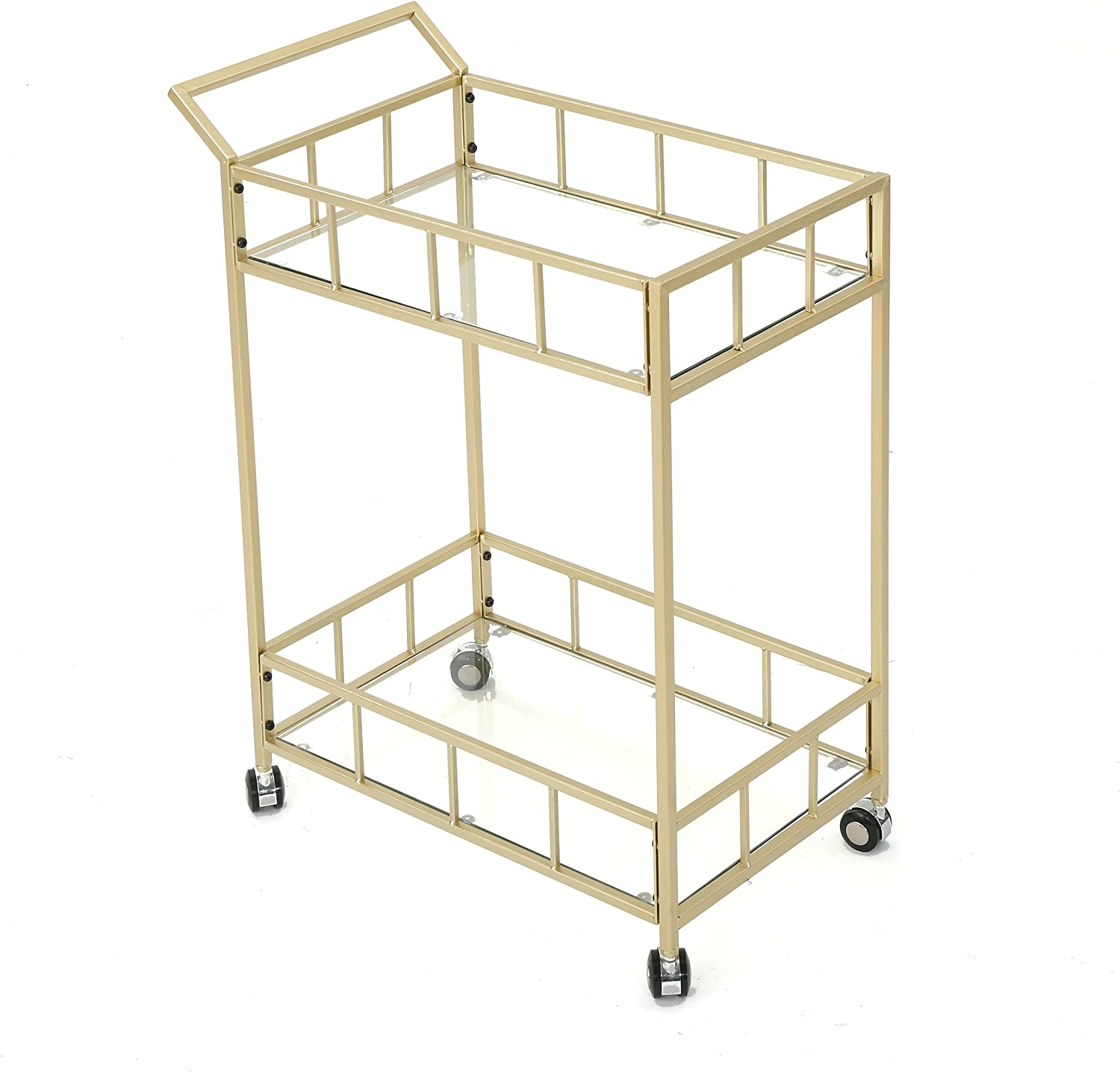 Christopher Knight Home Alice | Outdoor Industrial Modern Iron and Glass Bar Cart | in Gold