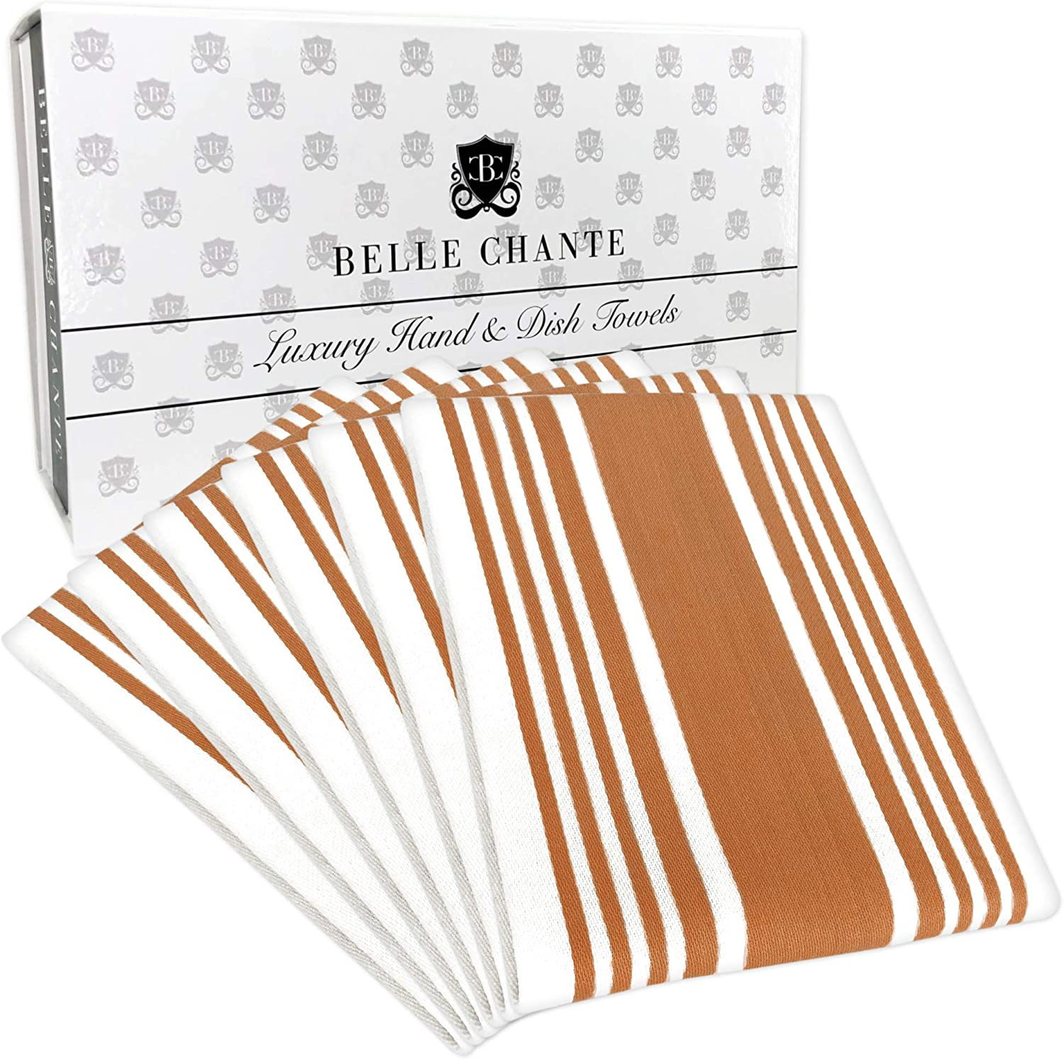 BELLE CHANTE Luxury Hand and Kitchen Dish Towels Woven from 100% Responsibly-Farmed, Thick, Luxurious Cotton, Oversized 20 x 30 inches, One Half Dozen, Copper Stripe
