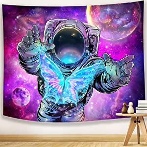 Hexagram Trippy Astronaut Tapestry Wall Hanging Space Galaxy Psychedelic Tapestry Aesthetic Hippie Purple Starry Sky and Butterfly Tapestry for Guy,Teen,Men,Kids Bedroom Decor or College Dorm Wall Art