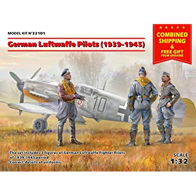 ICM 32101 SCALE 1/32 GERMAN LUFTWAFFE PILOTS WWII PLASTIC MODEL FIGURES KIT: Toys & Games