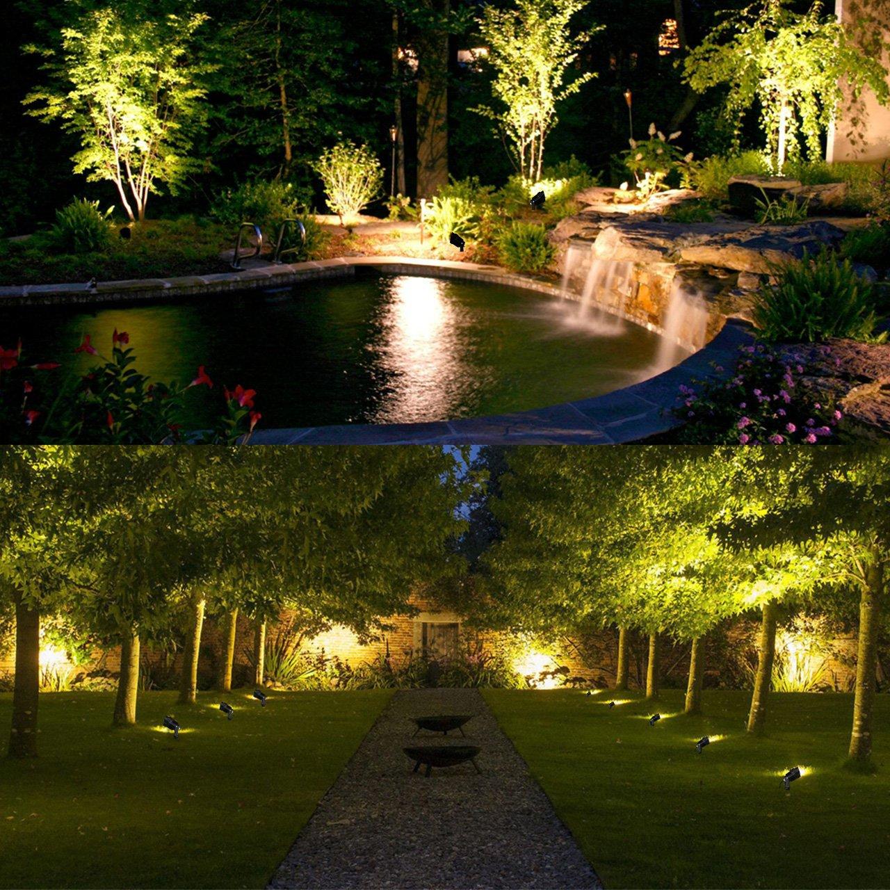 MEIKEE Gartenleuchte 800LM mit Erdspie/ß 7W LED Gartenstrahler IP66 wasserdicht veschwenkbar Metall 85-265V//AC f/ür Baum Wiese Garten 3000K Warmwei/ß 2-er Pack