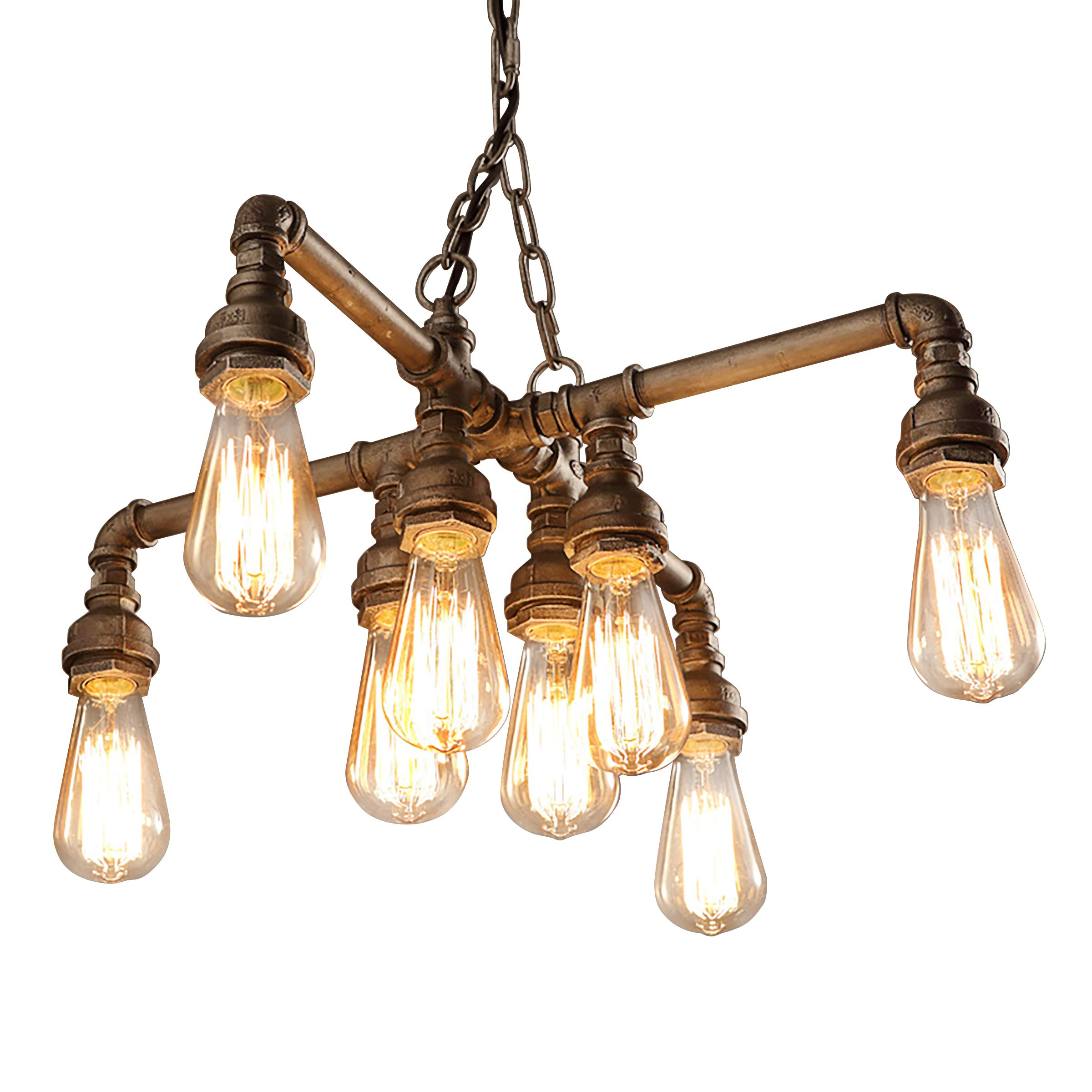 EdiMoM-Light Copper Industrial Pipe Chandeliers with 8 Lights, Max 480W Metal Fixture
