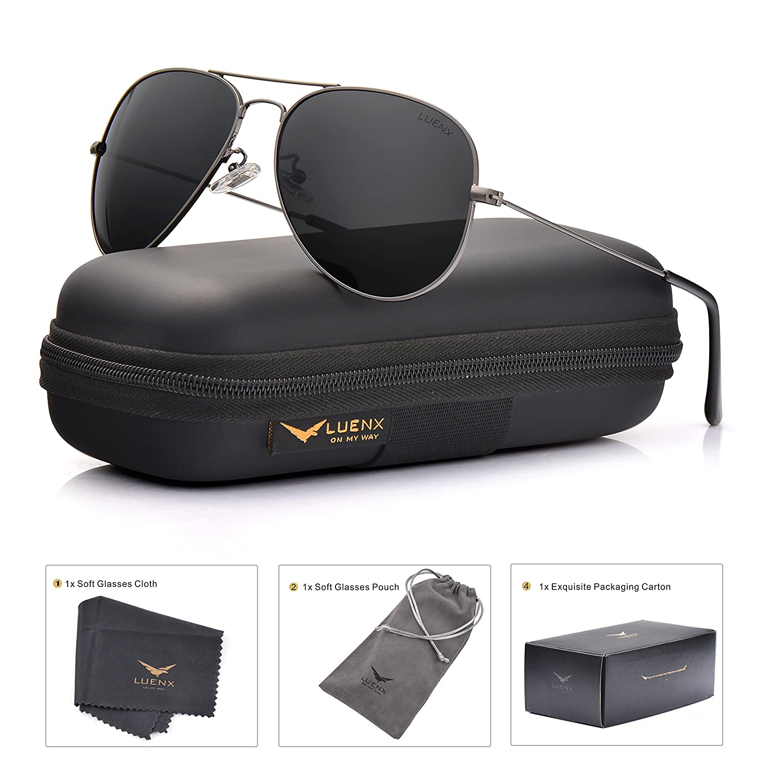 LUENX Men Aviator Sunglasses Polarized - UV 400 Protection with case 60MM Classic Style AU-2610-13