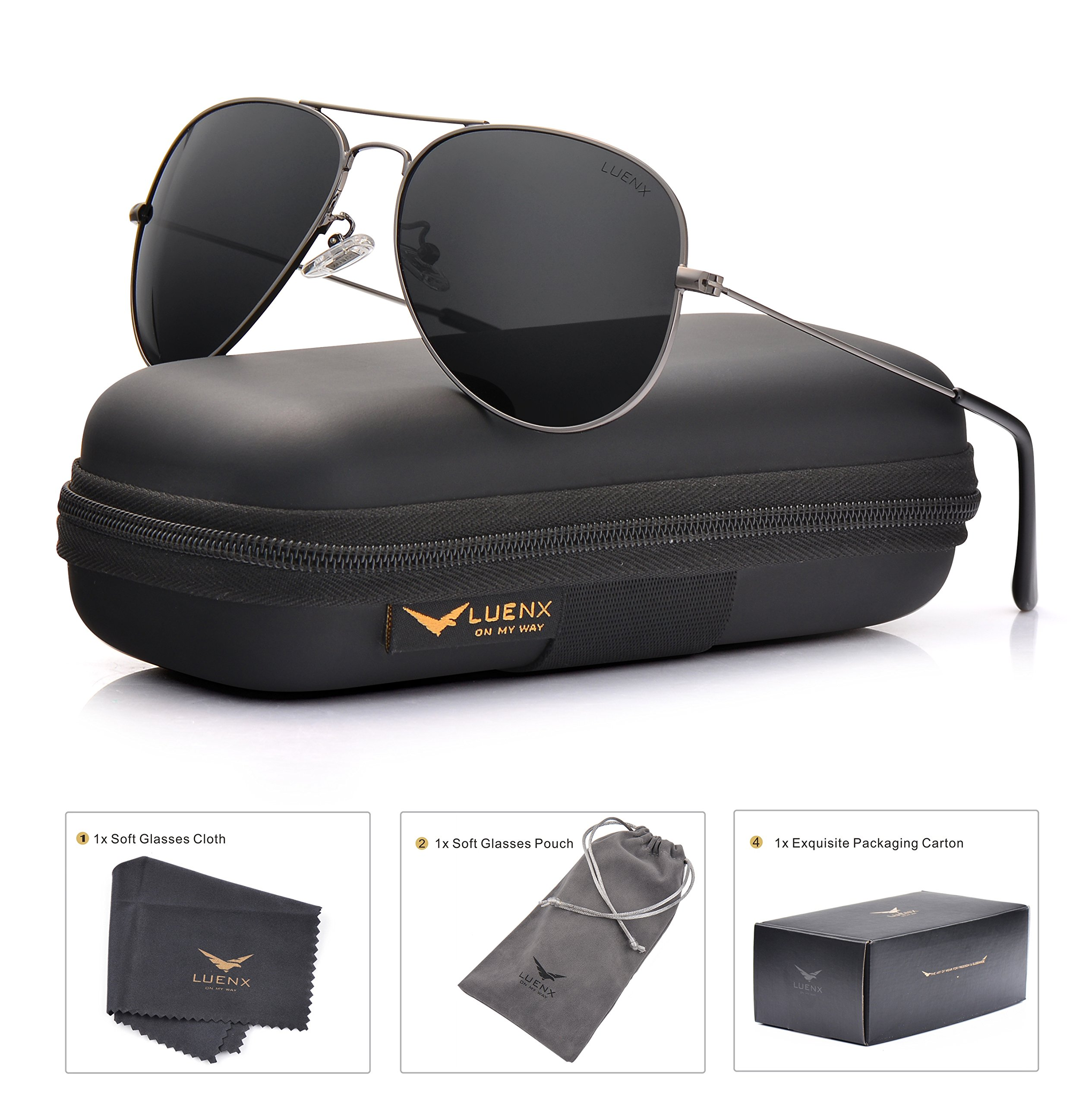 LUENX Men Women Aviator Sunglasses Grey Polarized Non-Mirrored Metal Frame - UV 400 60MM with Accessories Classic Style