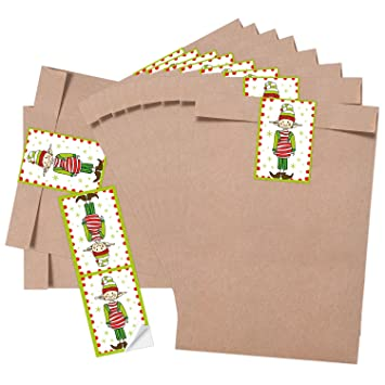 10 Kleine marrón gnomo weihnac htstüten bolsas de papel (16,2 x 23 +