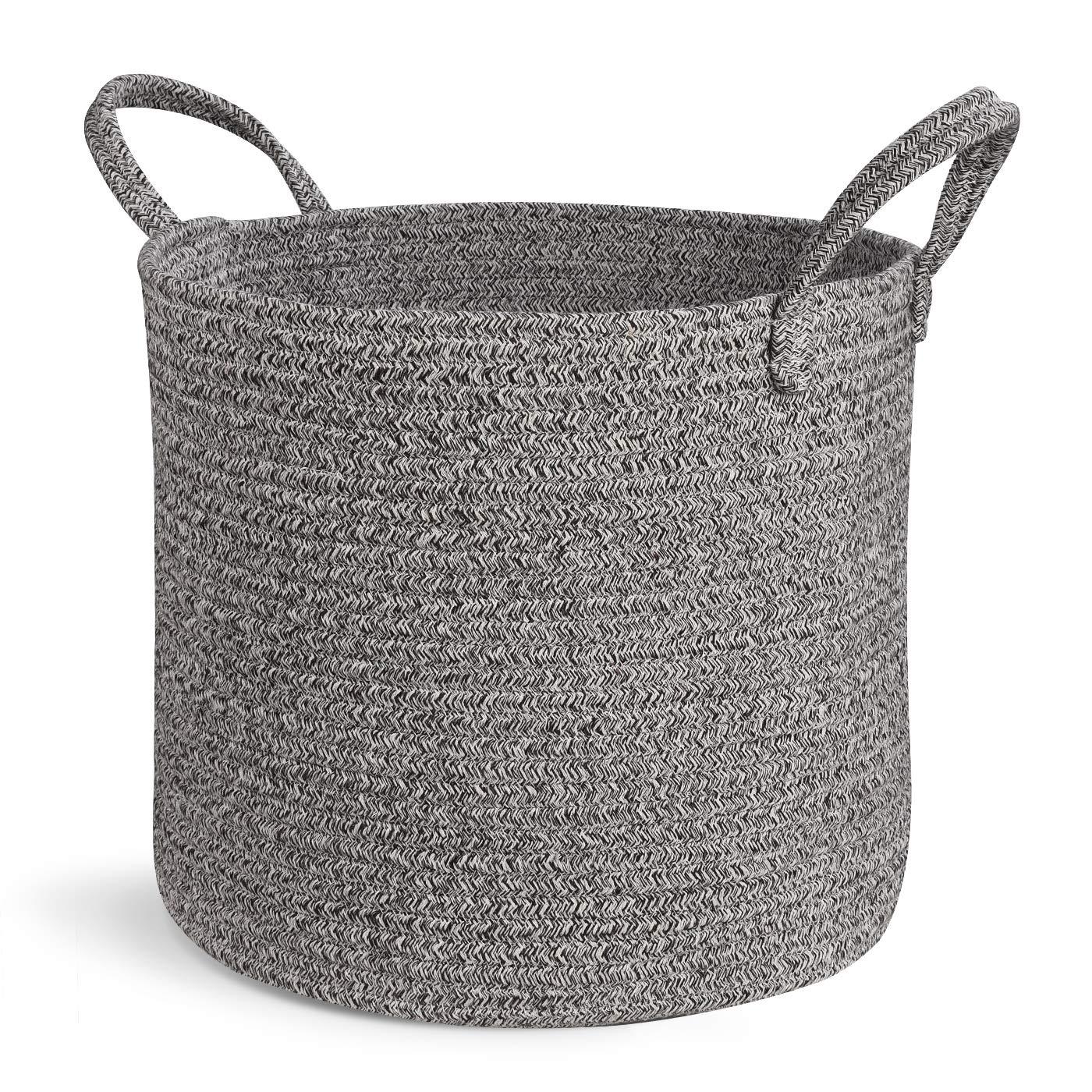 Large Woven Blanket Storage Basket, Grey Laundry Baskets 15 x13 by CiKi Home
