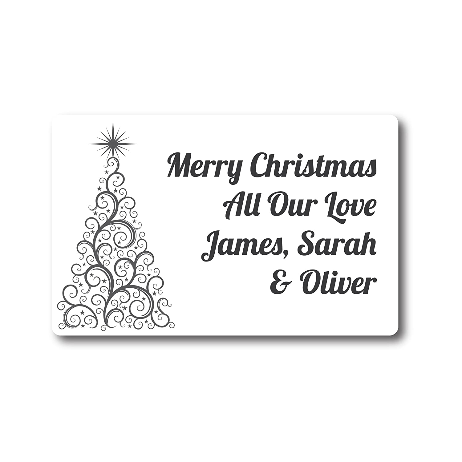 50 x 4cm PERSONALISED Swirly Christmas Tree Stickers//Labels Cards Presents Gifts Xmas