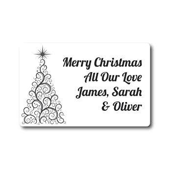 50 x 4cm personalised swirly christmas tree stickers labels cards presents gifts xmas
