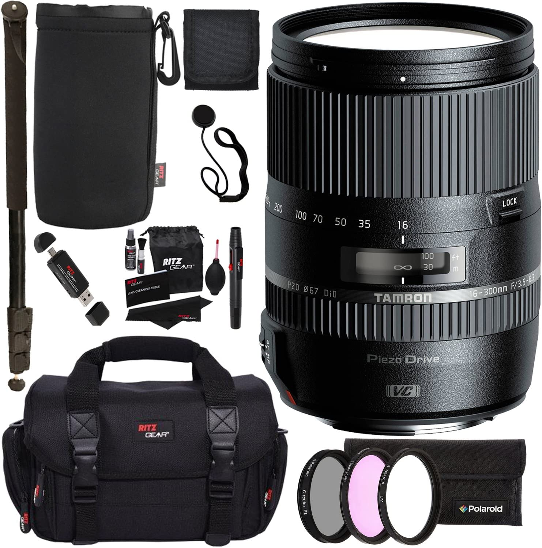 "Tamron 16-300mm (6 Year USA Warranty) AFB016N700 F/3.5 6.3 Di II VC PZD Macro Interchangeable Lens for Nikon Cameras + 72"" Monopod + Polaroid Filter Set + Ritz Gear Bag and Accessory Bundle"