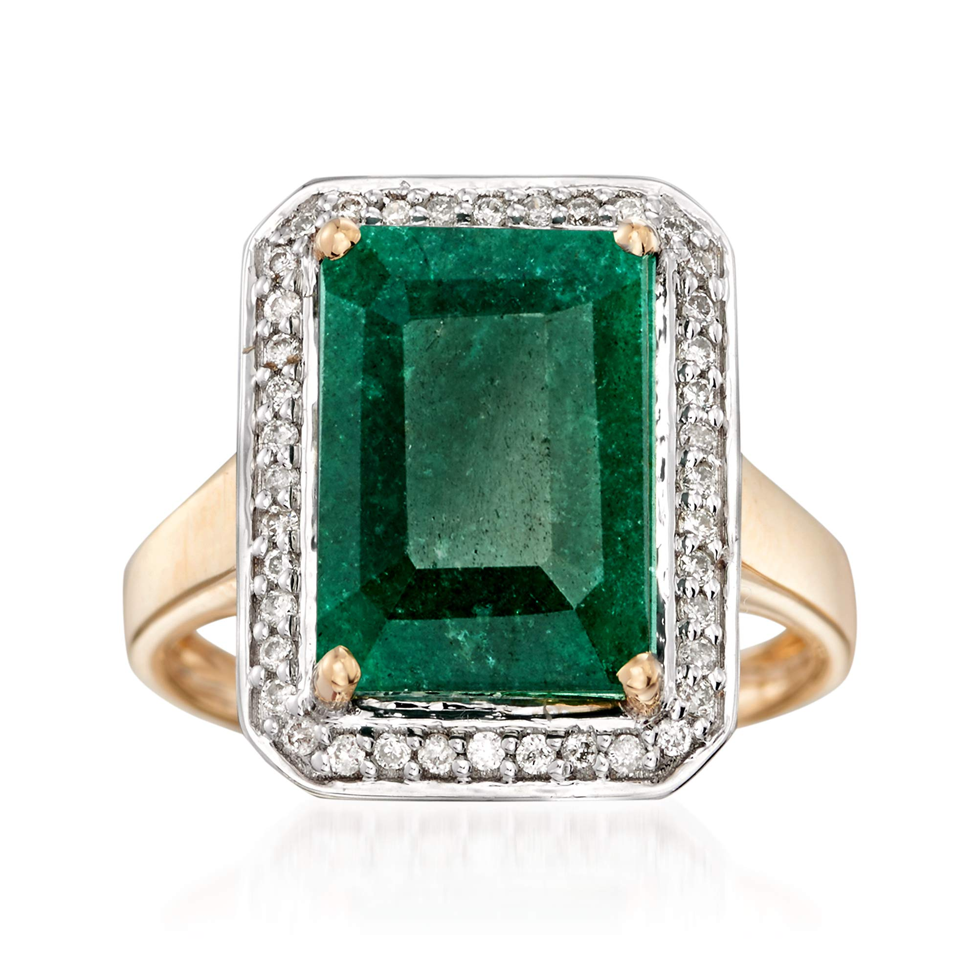 Ross-Simons Certified 5.50 Carat Emerald and .20 ct. t.w. Diamond Ring in 14kt Yellow Gold