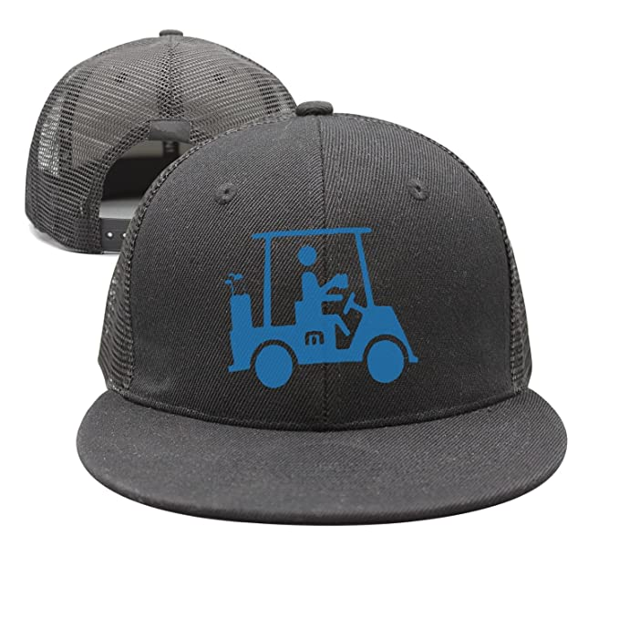 bbabylike Man On Golf Car Style Flat Bill Baseball Caps Trucker Hats ... fe7739f8243