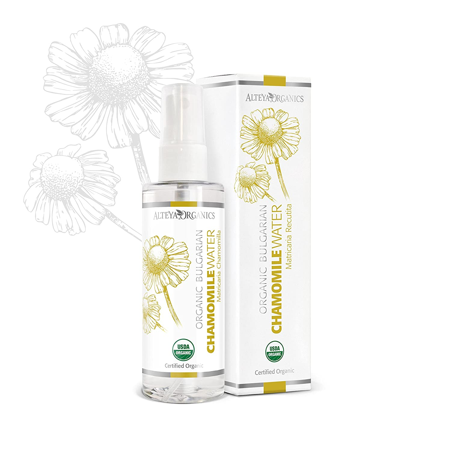 Alteya Organic Chamomile Water Spray 100 ml - USDA Certified Organic Pure Bio Natural Floral Water Steam-Distilled from Fresh Hand Picked Matricaria Chamomilla Flowers - Brightening, Hydrating, Soothing and Calming Alteya Organics 9000