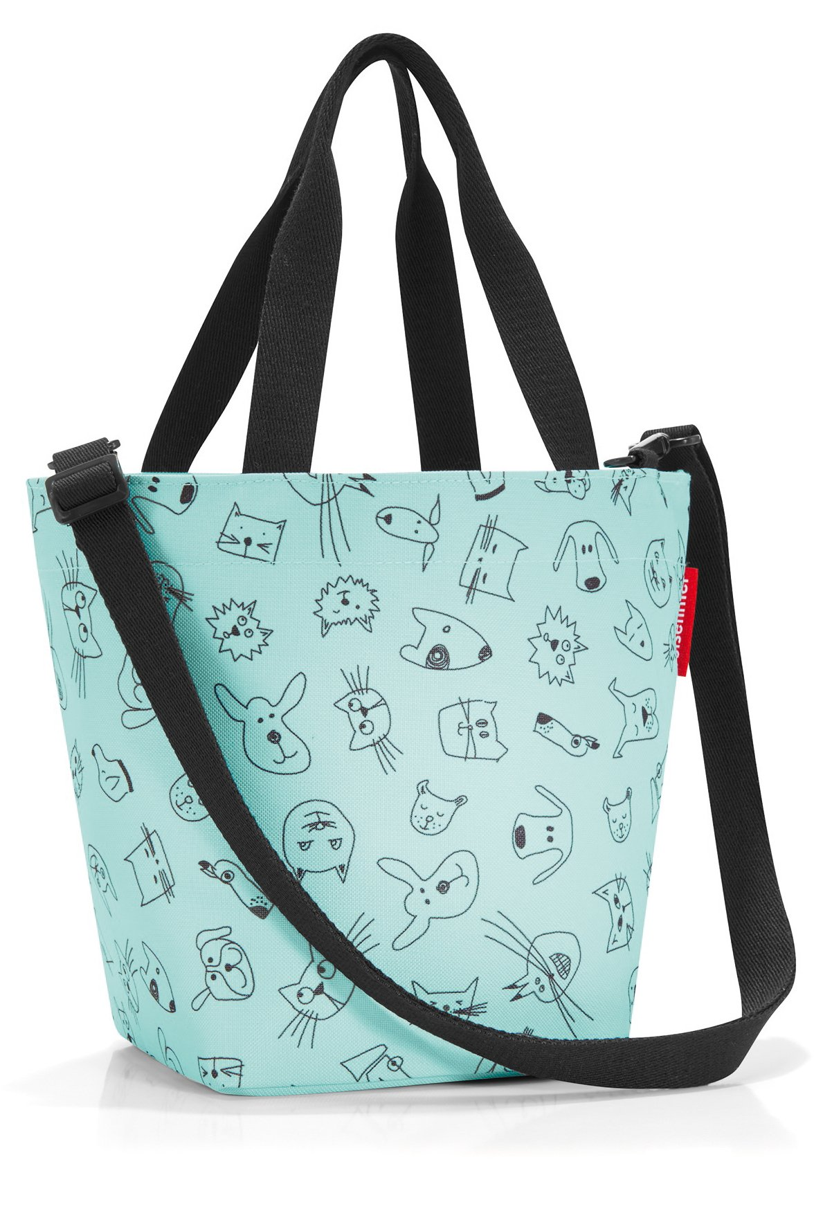 reisenthel Shopper XS, Extra Small Zippered Tote Bag with Shoulder Strap, Cats and Dogs Mint