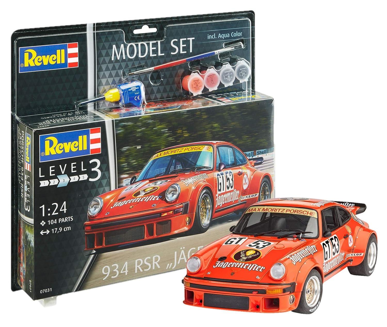 Revell Maqueta de Auto 1: 24 - Porsche 934 RSR Jägermeister en Escala 1: 24, Nivel 3, réplica exacta con Muchos Detalles, Juego, Model con Base Accesorios, ...