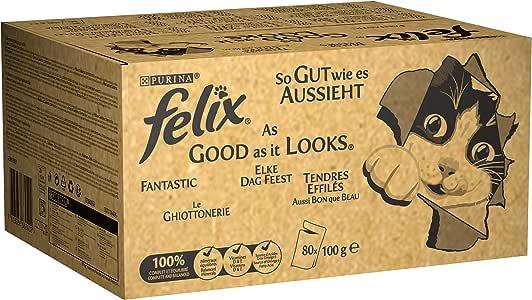 Felix Elke Dag Feest Kattenvoer, Natvoer Maaltijdzakjes met Rund, met Kip, met Tonijn en met Kabeljauw in Gelei, 80 x 100g (80 Maaltijdzakjes; 8kg)