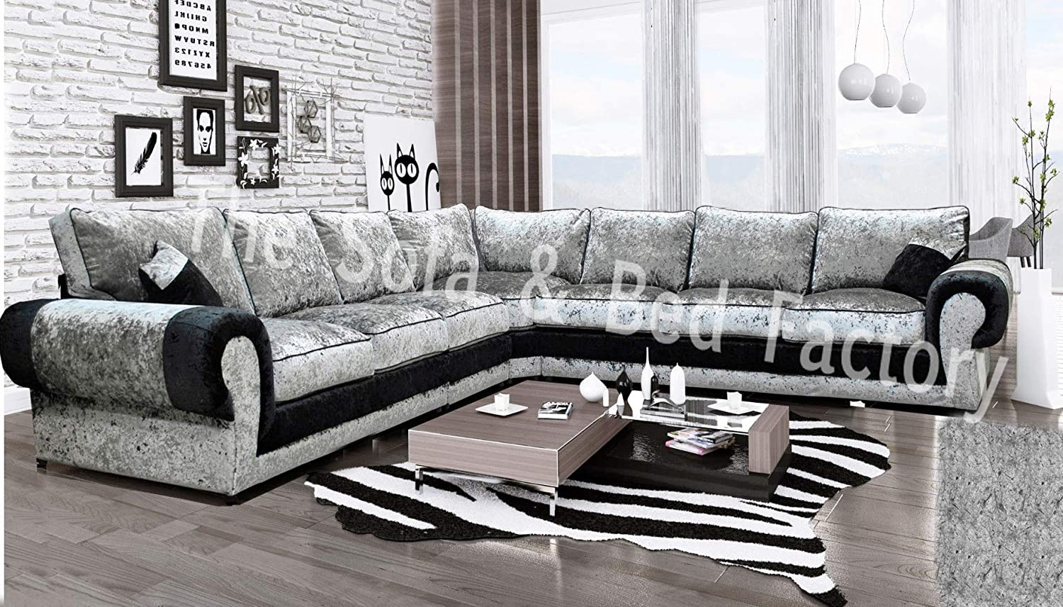 outlet store 6923e a751c Details about Luxury Lara Crushed Velvet Extra Large 7 Seater Corner Sofa  Black and Silver 3C3