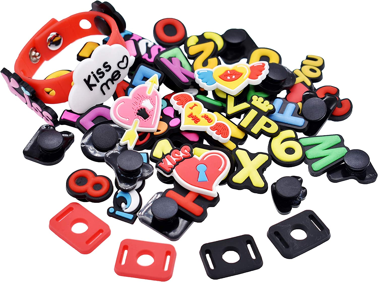 SHINQEAR 100pcs PVC Volleyball Colored Ball Football Rugby Letters Numbers Croc Shoe Charms Fits for Clog Shoes Wristband Bracelet Party Gifts