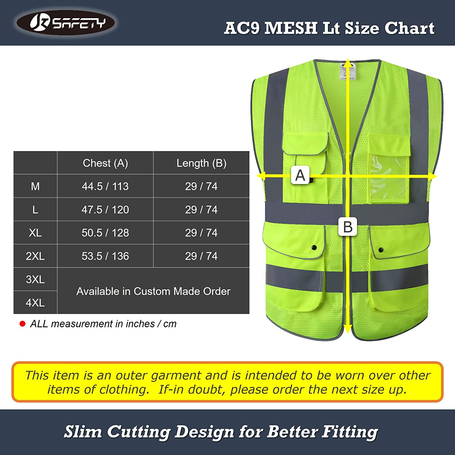 JKSafety 9 Pockets Class 2 High Visibility Zipper Front Safety Vest With Reflective Strips,HQ Breathable Mesh Meets ANSI//ISEA Standards Medium, Drone-Yellow