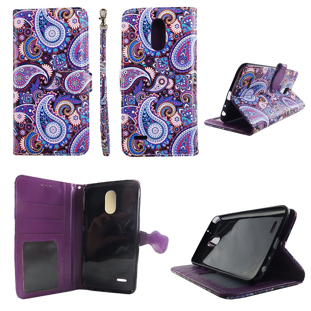 Purple Paisley Wallet Folio Case for LG Stylo 3 LS777 Fashion Flip PU Leather Cover Card Cash Slots & Stand