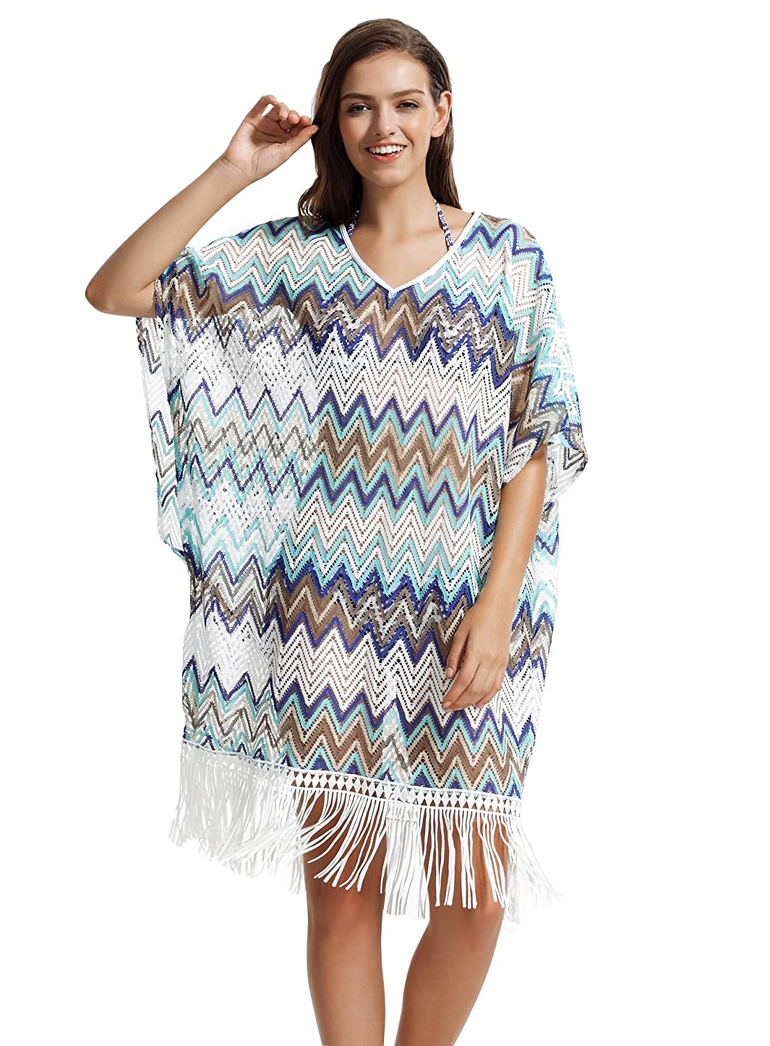 bluee zeraca Women's V Neckline Lace Fringe Bikini Swimsuits Cover UPS