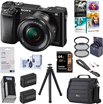 Black Battery ILCE6000L//B Filter Kit UFO 2 Tripod Travel Bundle with Lowepro Backpack and Accessories Sony Alpha a6000 Mirrorless Digital Camera 24.3MP 64GB SD Card with 16-50mm Lens