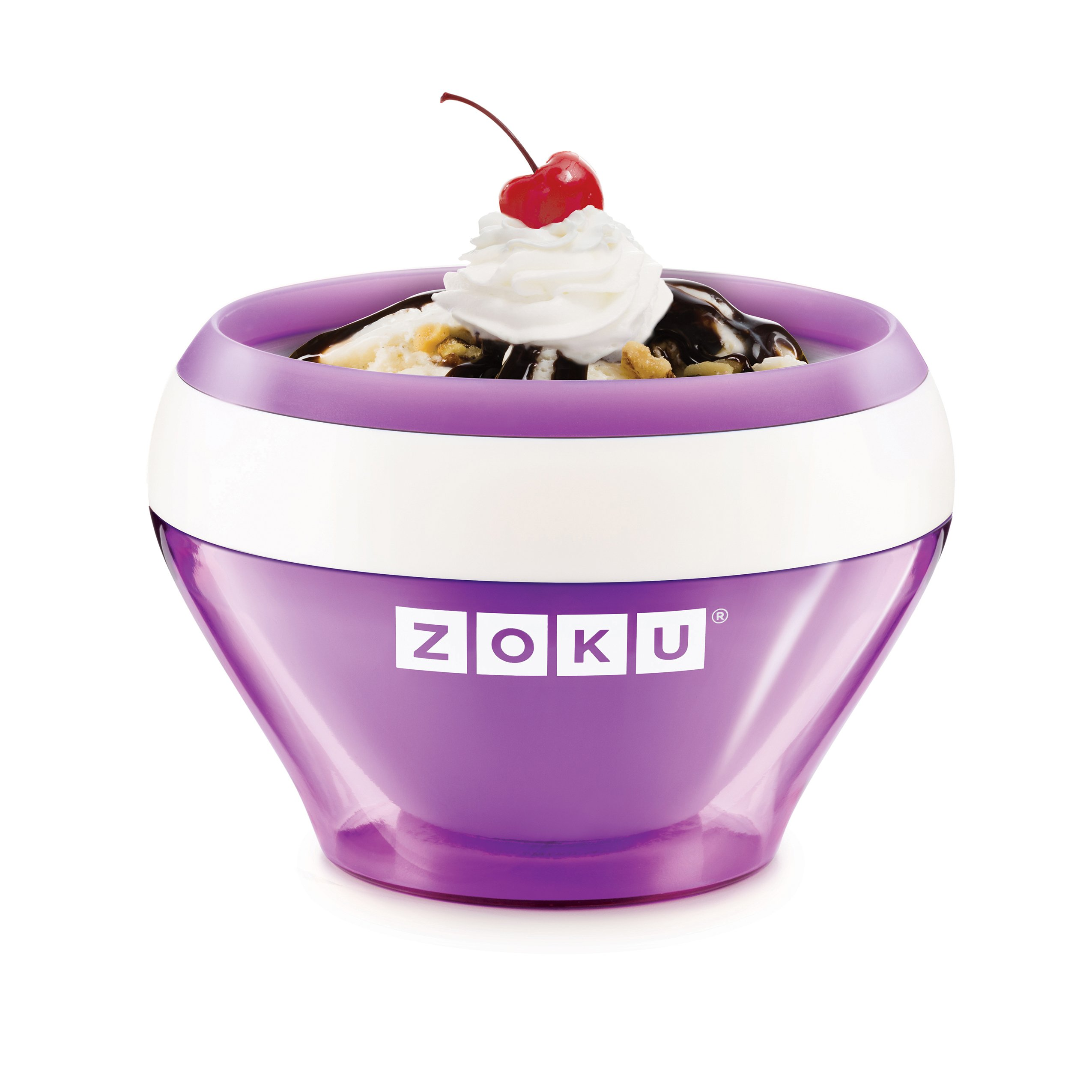 Zoku Ice Cream Maker, Compact Make and Serve Bowl with Stainless Steel Freezer Core Creates Soft Serve, Frozen Yogurt, Ice Cream and More in Minutes, BPA-free, 6 Colors, Purple