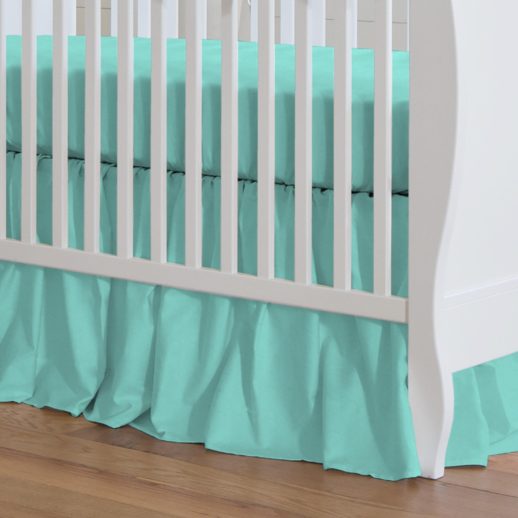 Carousel Designs Solid Teal Crib Skirt Gathered 20-Inch Length