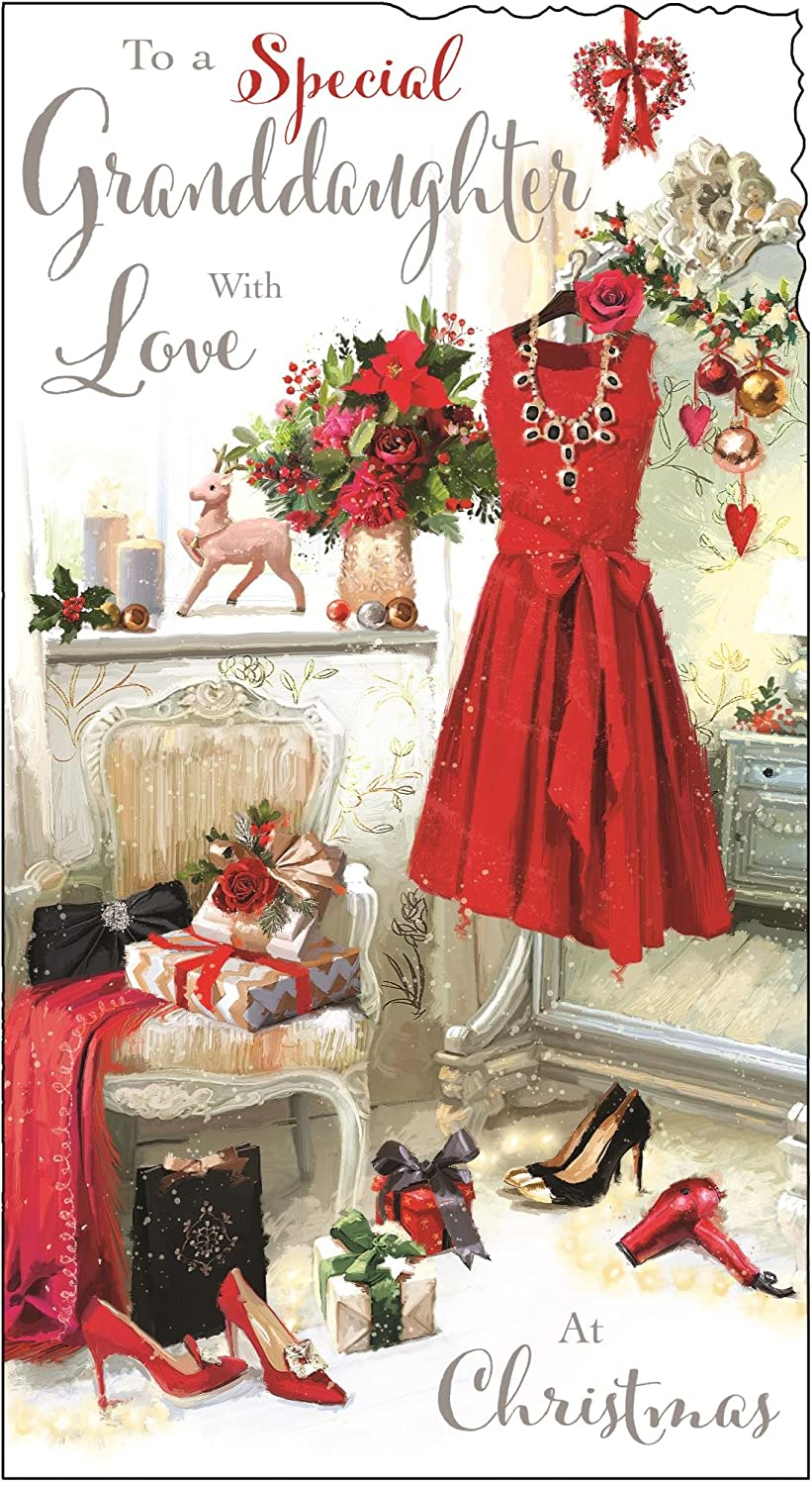 Jonny Javelin Red Dress Special Granddaughter With Love At Christmas Card