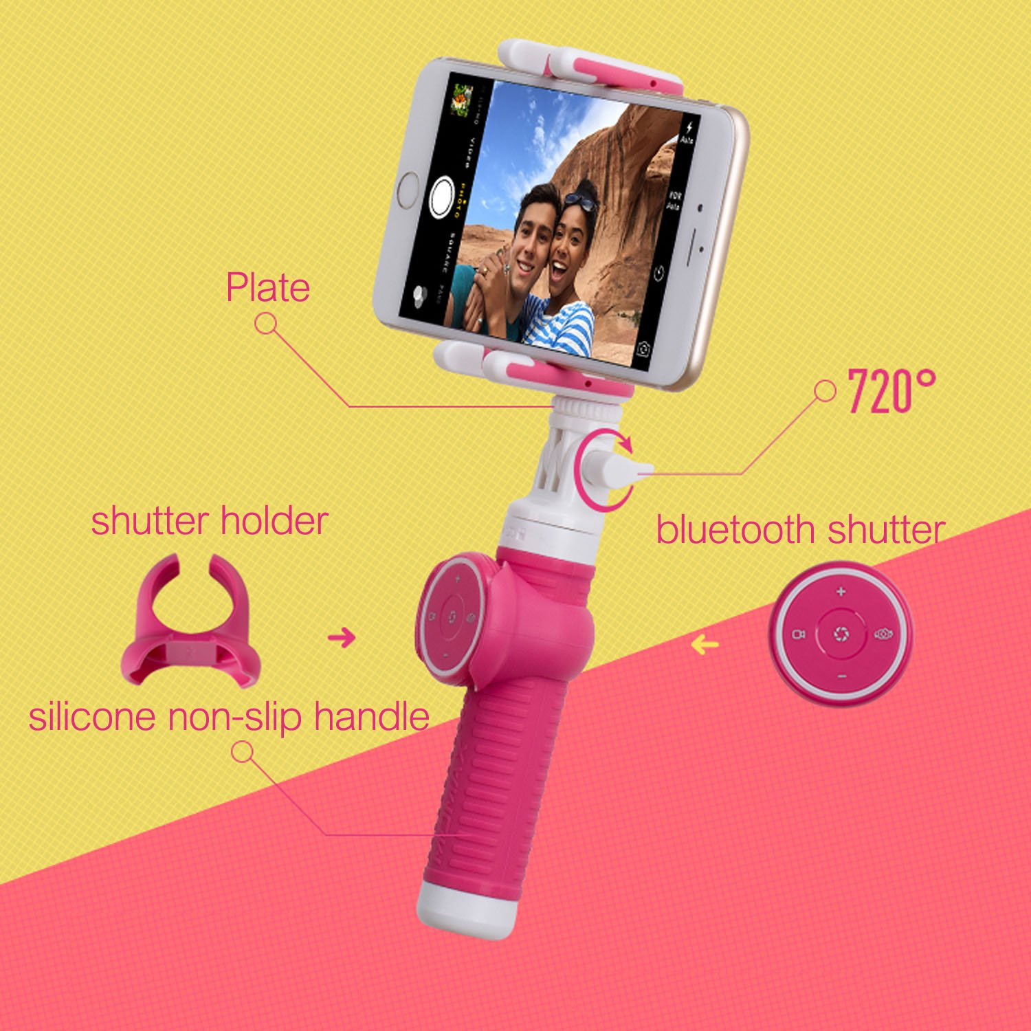 MOMAX Bluetooth Selfie Stick, Foldable Extendable Selfie Monopod with Removable Remote Bluetooth Shutter for for iPhone X/8/7, S9 and More (150cm Blue)